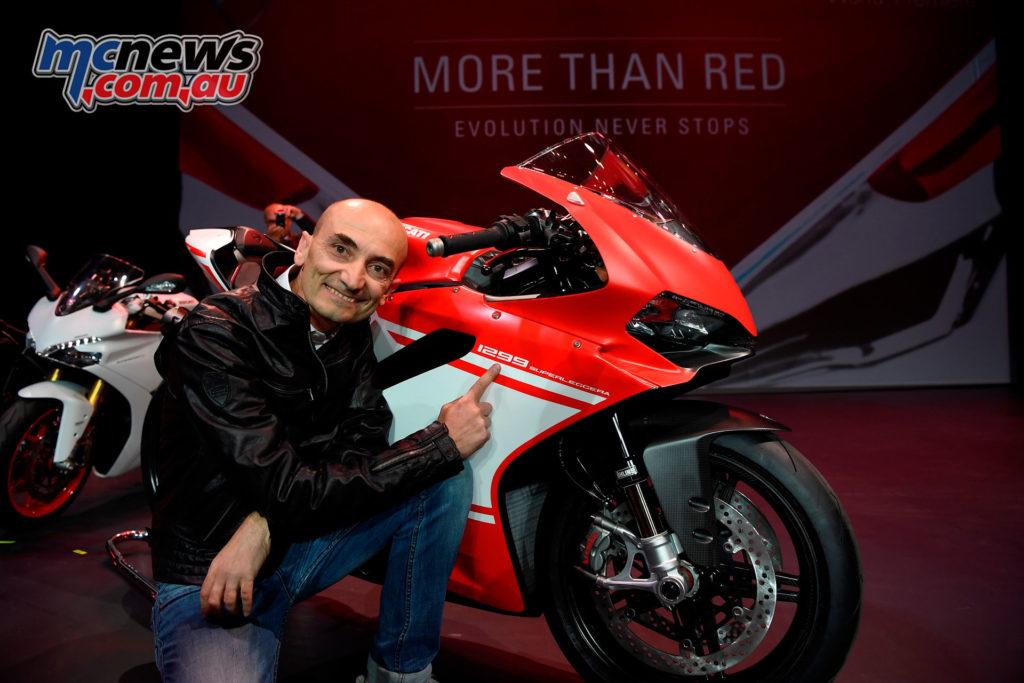 Claudio Domenicali, Ducati CEO, introducing the 1299 Superleggera