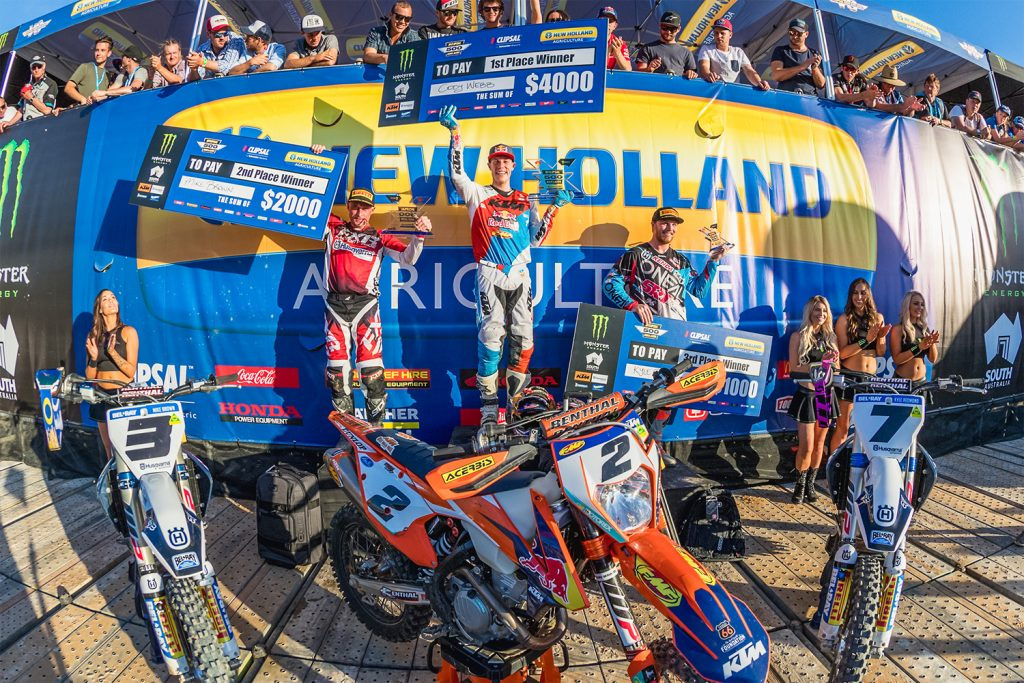 KTM rider Cody Webb dominated the weekend's Super Enduro-X at the Clipsal 500, winning Friday and Saturday's overalls, and taking one win Sunday - Image: Owlpine Group
