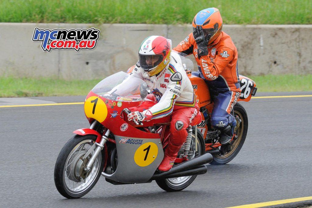 Giacomo Agostini on the MV Agusta 500 triple and Piero Laverda on the Laverda V6
