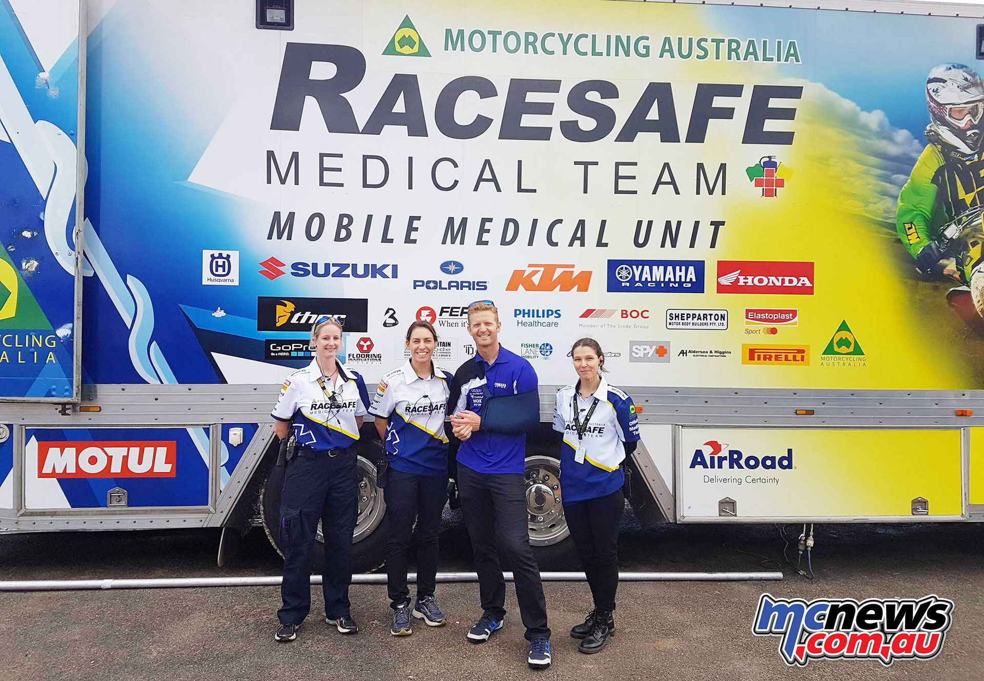Glenn Allerton thanks RACESAFE staff for the efforts after his spill