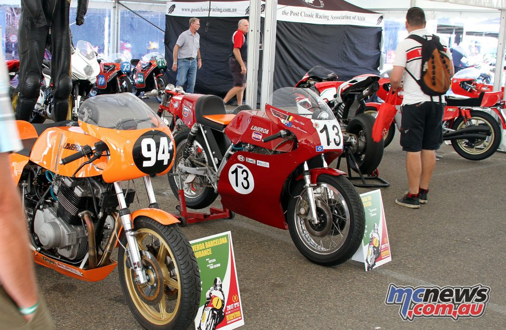 Laverda display - Left: Laverda Barcelona Endurance Racer, Right: Laverda 750 Special