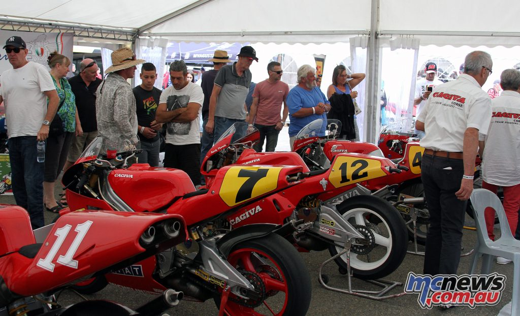 The Italian bike display of MV Agustas, Cagivas and Laverdas drew the crowds