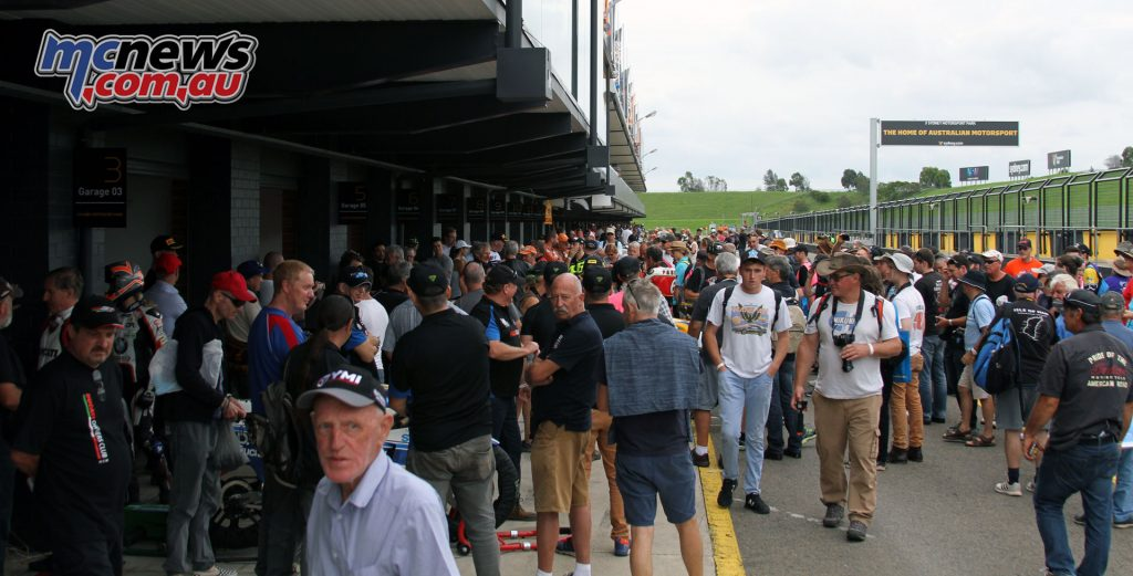 Pit lane was packed prior to every Legends parade session, with punters keen to hear the rare machines started up and brush shoulders with their riders