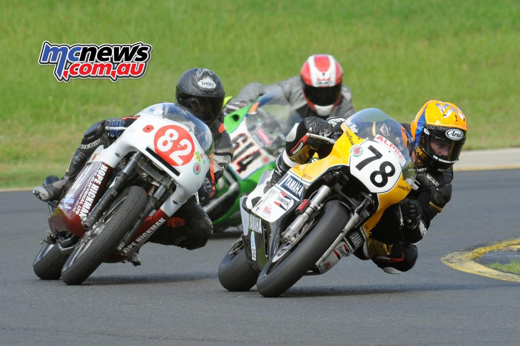 Michael Blair on the Yamaha TZ750 and Terry Martin on a Triumph Trident