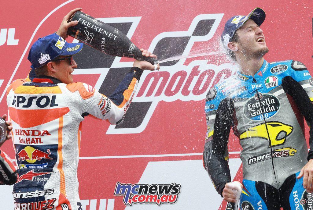Marquez helps Miller celebrate at Assen