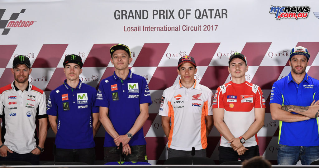 Crutchlow, Viñales, Rossi, Márquez, Lorenzo and Iannone all lined up in the first Official Press Conference of the season