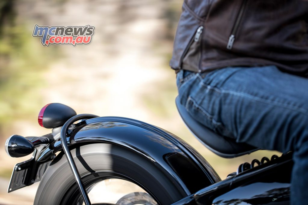 Triumph Bobber seat is adjustable fore and aft through a range of 35mm