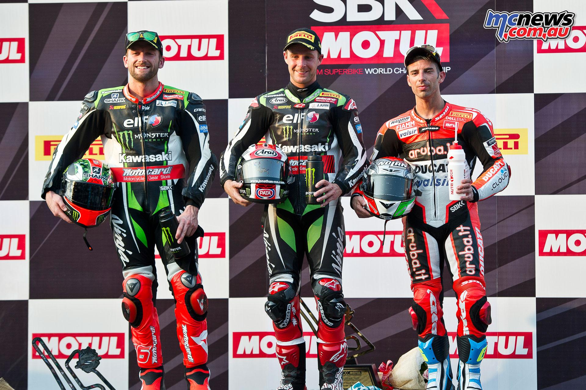 WorldSBK 2017 - Thailand - Race 2 Podium - Rea, Sykes, Melandri