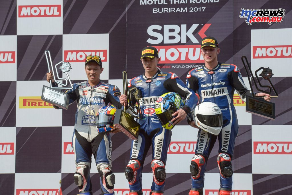 WorldSBK 2017 - Thailand - SSP - Podium: Caricasulo (1), Kraisart (2), Tuuli (3)