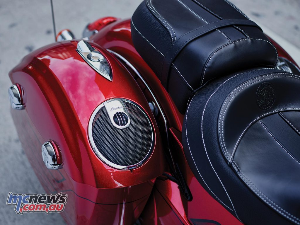 2017 Indian Chieftain Elite - Fireglow Red Candy Finish with speakers in the saddlebags