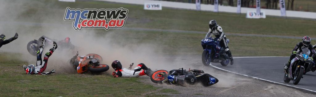 Click the image to open a new page with a multi image sequence of the crash. Fallers included Jack Passfield, Hunter Ford, Tommy Edwards and Billy Van Eerde.
