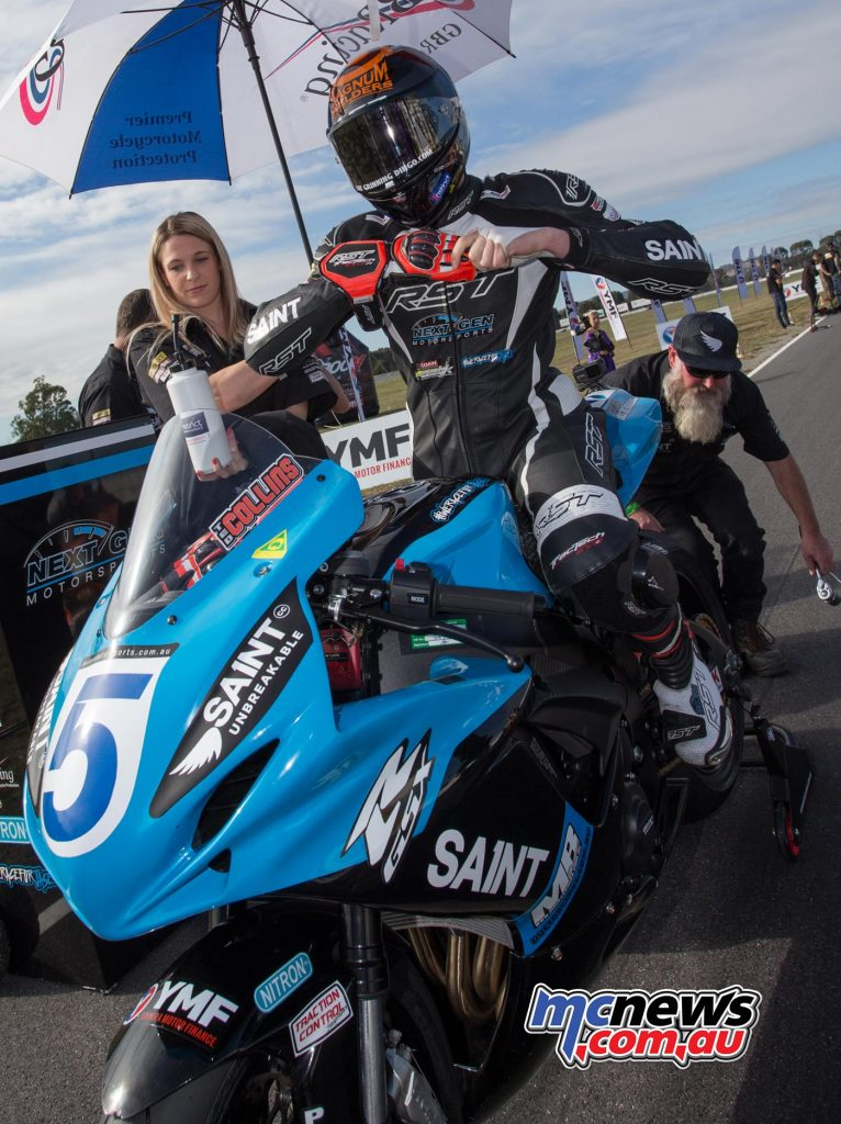 Ted Collins on the grid at Winton