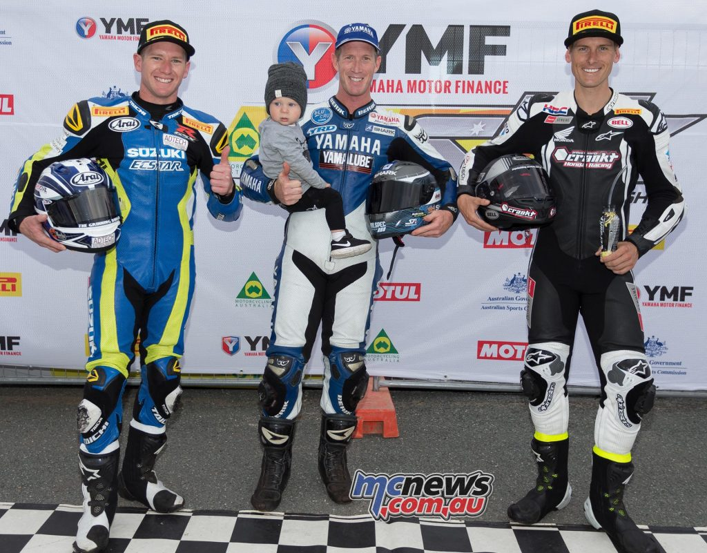Wayne Maxwell on pole alongside Josh Waters (3rd) and Troy Herfoss (2nd) - Image by Andrew Gosling