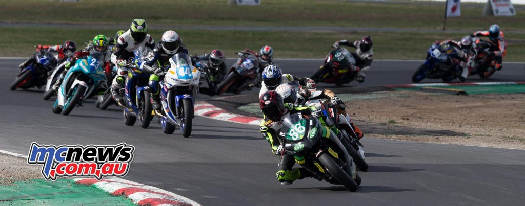 Supersport 300 action at Winton Raceway today