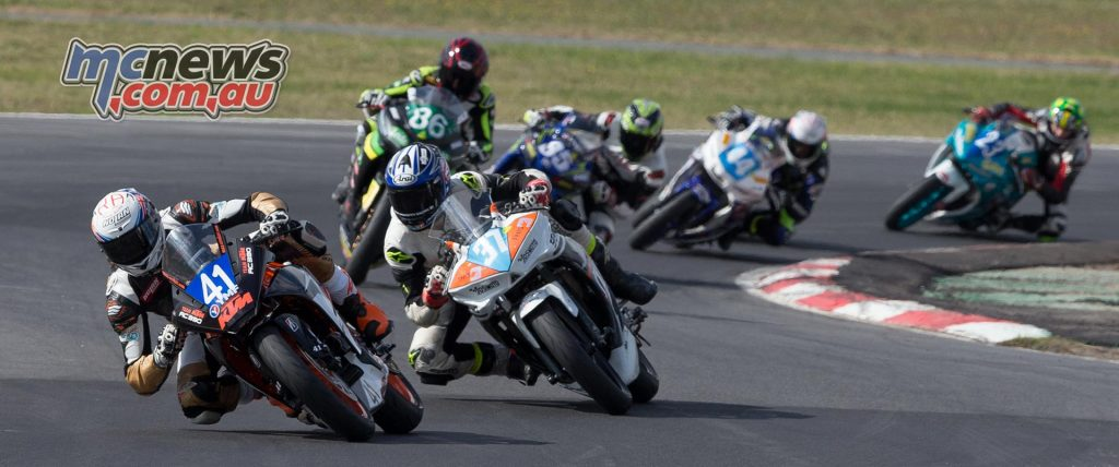 Max Croker leads Mahaffy and Bayliss during 300 Supersport Race Two at Winton - Image by TBG