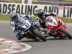 Wayne Maxwell passes Troy Herfoss for the lead at Winton Motor Raceway today - Image by Half Light Photographic