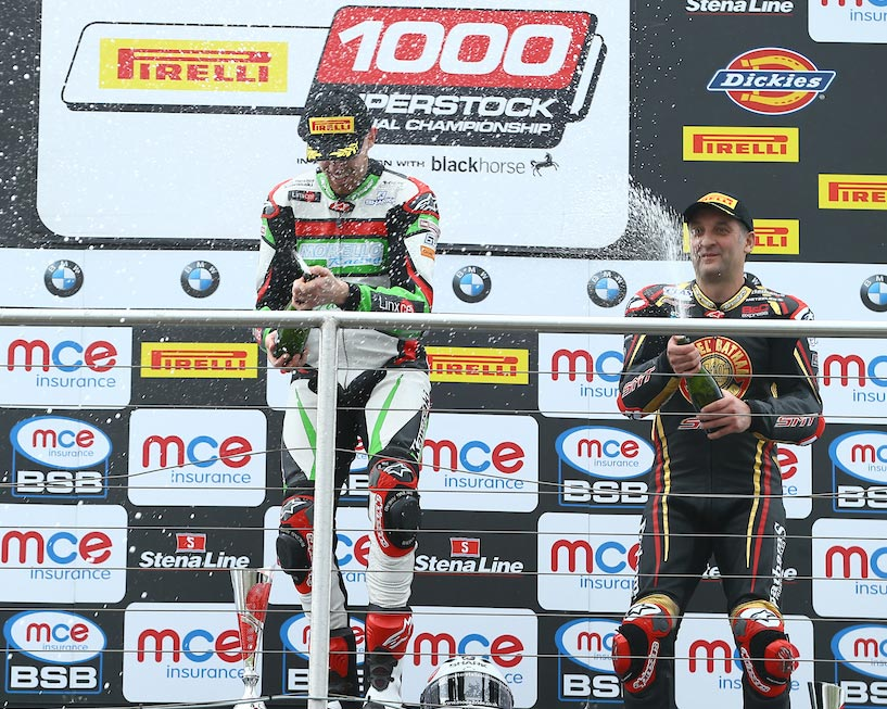 Danny Buchan on top of the podium at Donington- Michael Rutter also in shot