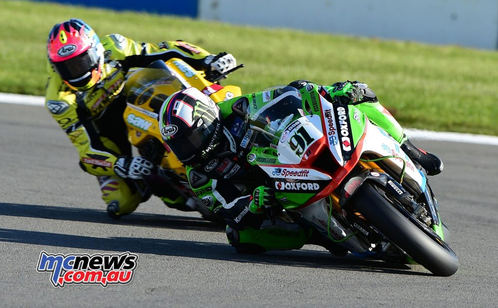 Leon Haslam leads Josh Brookes at Donington