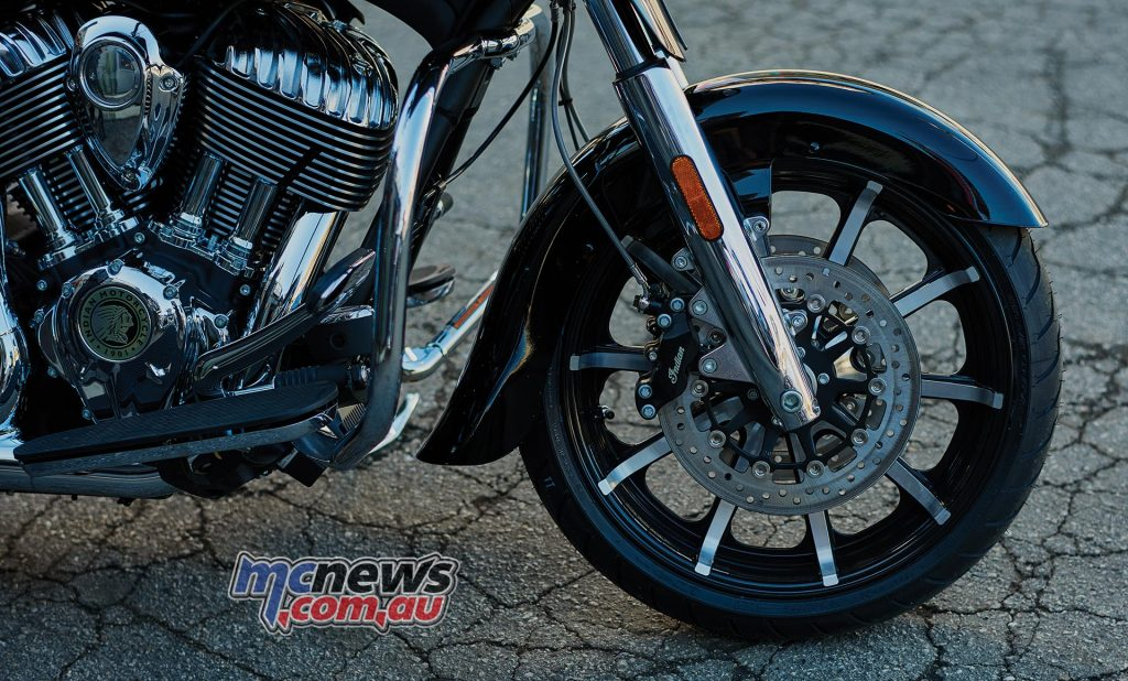 Indian Chieftain Limited - Dual front rotors with four-piston calipers and ABS