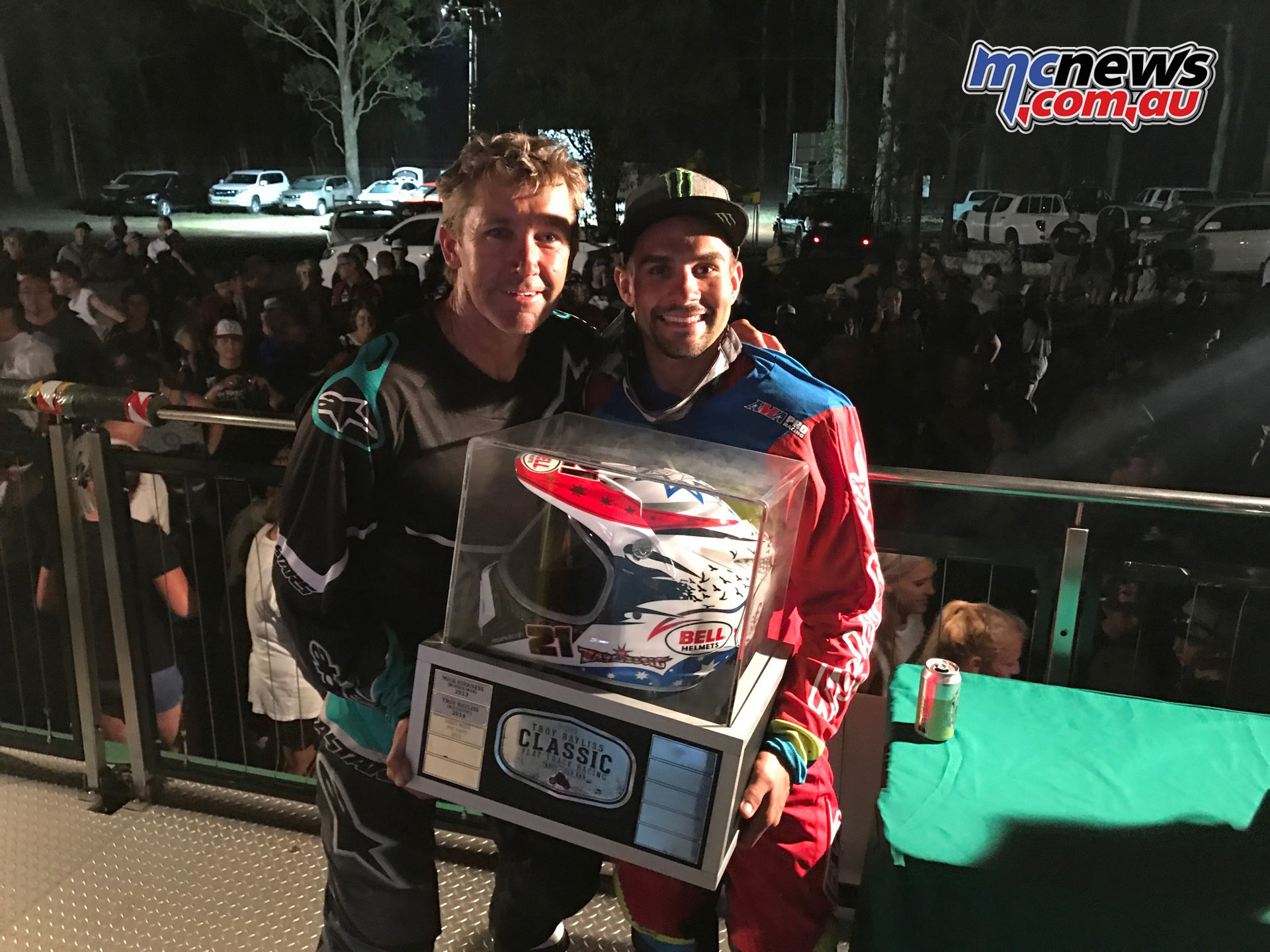 Troy Bayliss presenting Jared Mees with the TBC trophy