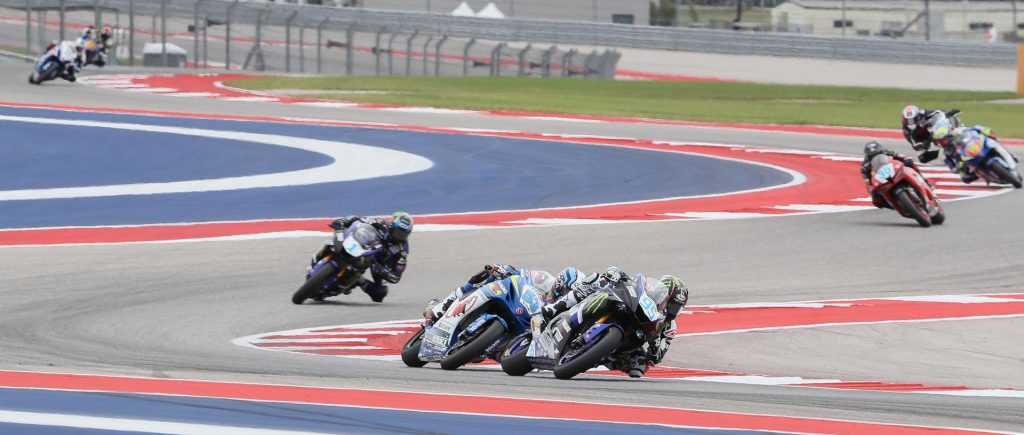 JD Beach leads Valentine Debise in Supersport - MotoAmerica 2017 - COTA - Image by Brian J. Nelson