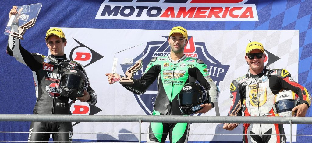 Bobby Fong on top of the Superstock 1000 Podium - MotoAmerica 2017 - COTA - Image by Brian J. Nelson