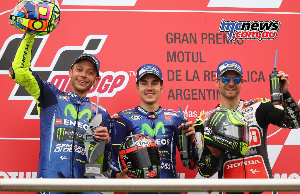 The podium at Argentina including Cal Crutchlow