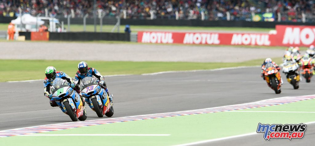 Franco Morbidelli and Alex Marquez lead the Moto2 race until a final lap highside saw lose his position