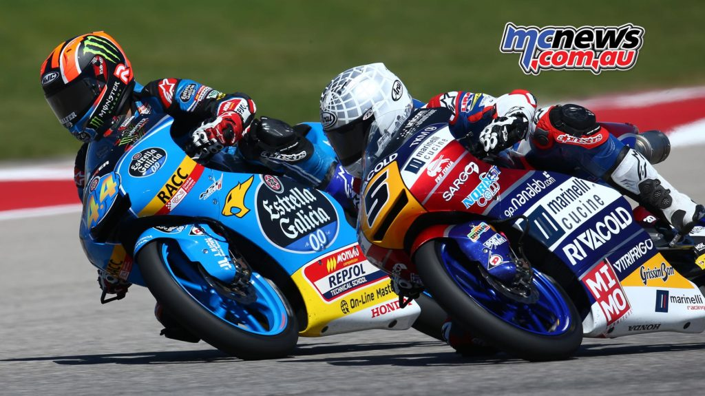 Aron Canet and Romano Fenati tussling for position at COTA