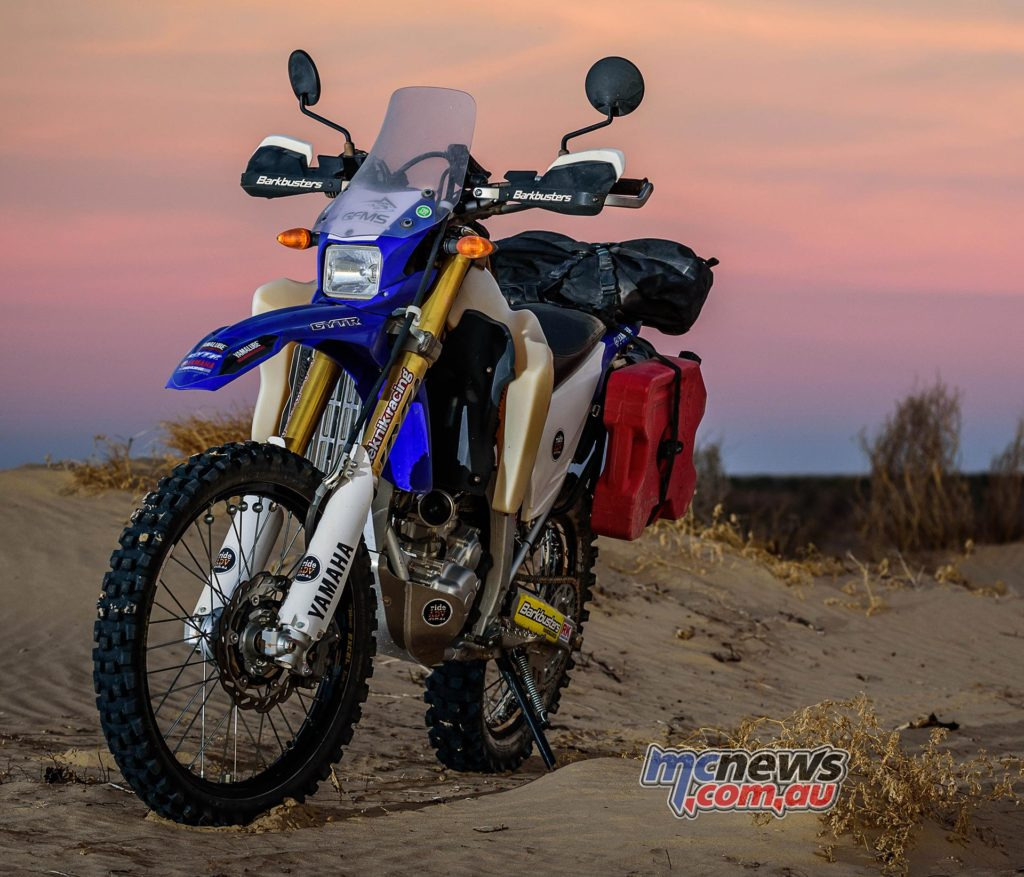 Yamaha WR250R with adventure accessories pictured in the Simpson Desert - Image by Danny Wilkinson