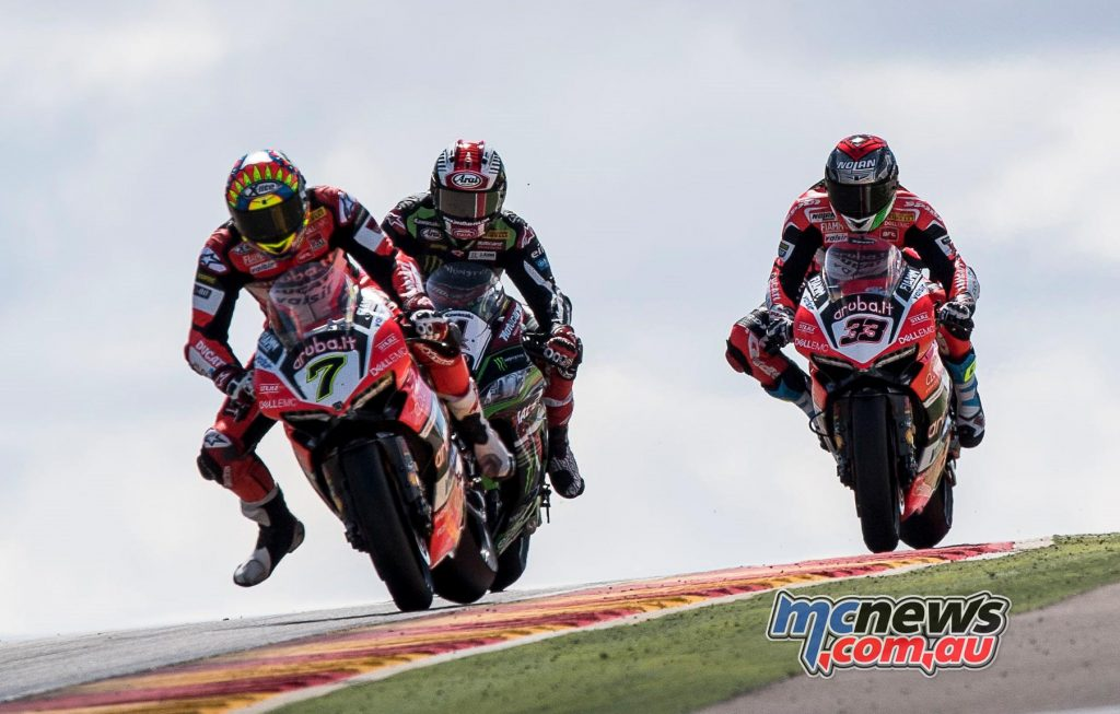 Chaz Davies leads Rea and Melandri at Aragon - Image by GeeBee