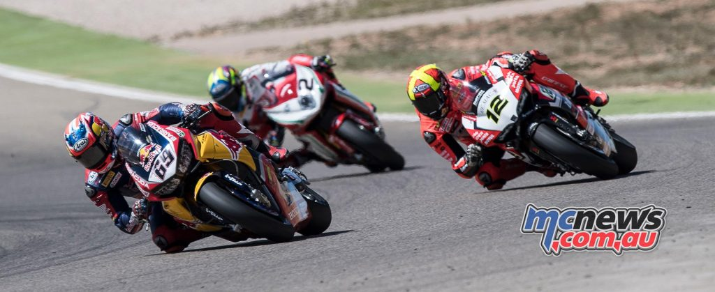 Nicky Hayden leads Fores and Camier at Aragon