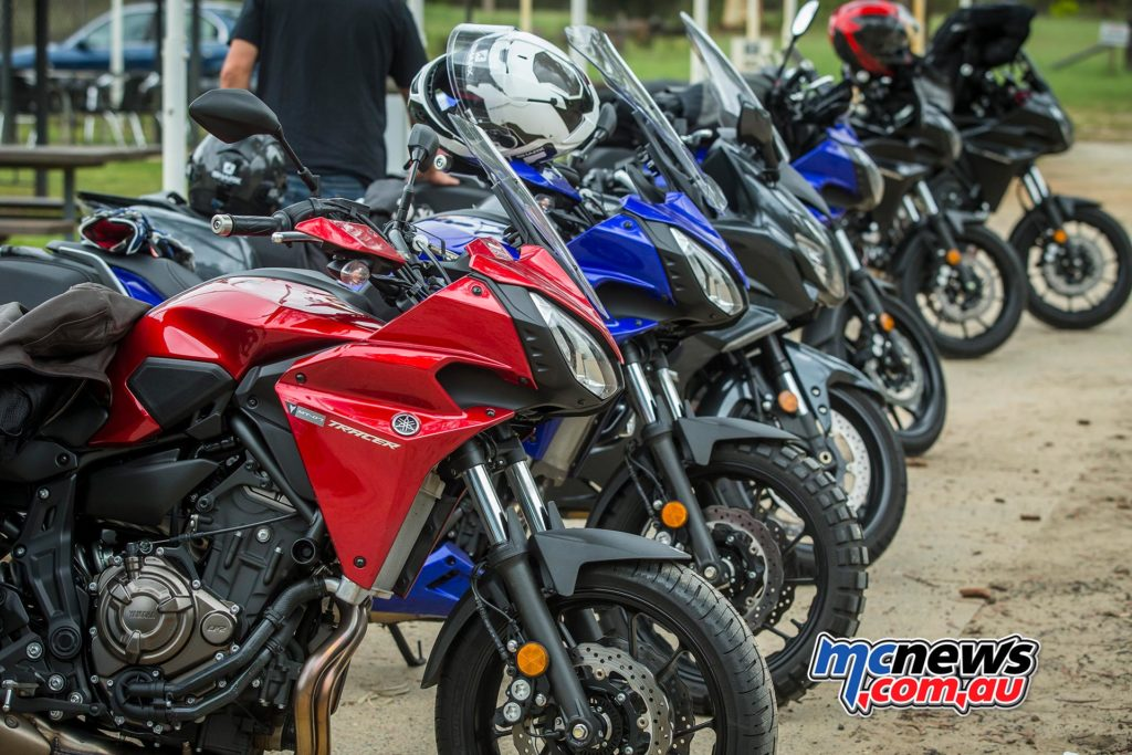 The Tracer comes in Tech Black, Yamaha Blue and Radical Red