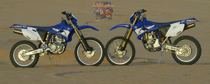 Yamaha's standard WR450F and the WR450F 2-Trac 'two wheel drive model'