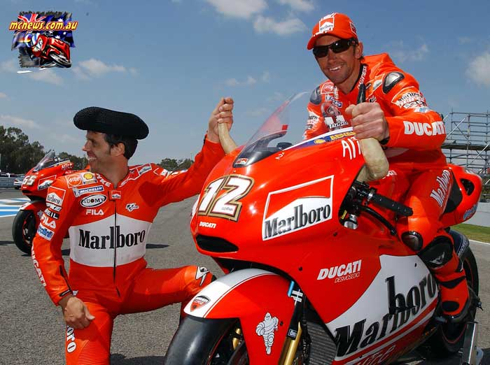 Troy Bayliss and Loris Capirossi at the Jerez MotoGP in 2004
