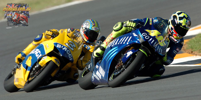 Valentino Rossi and Max Biaggi tussled at Jerez in 2004