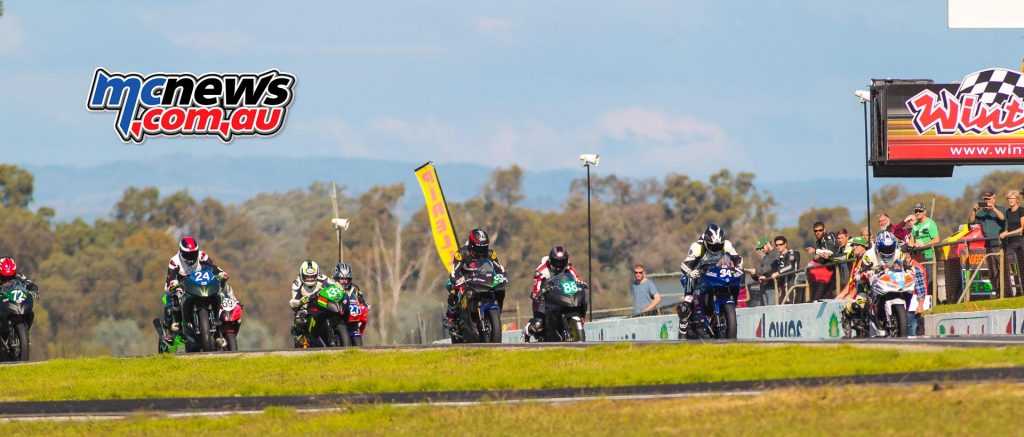VRRC 2017 - Round Two- Winton - 300cc 400cc Production - Jack Mahafy, Boyd Hocking, Ryan Taylor, Luke Sanders, Justin Kaiser, Liam Willoughby, Colin Bone, Grace Poutch - Image by Cameron White