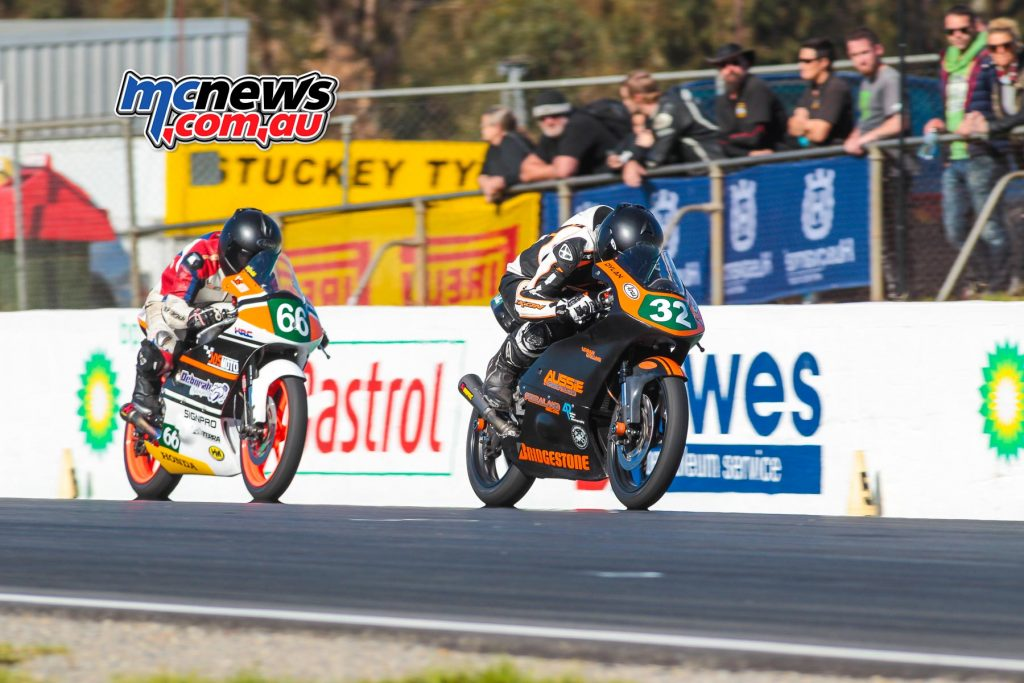 VRRC 2017 - Round Two - Winton - Moto3 / 125GP - Dylan Whiteside and Joel Kelso do battle - Image by Cameron White