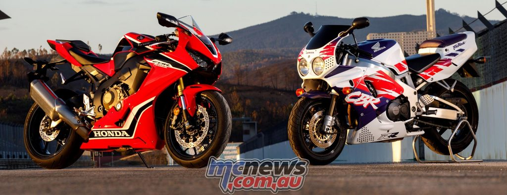 New and old - the original CBR900RR Fireblade from 1993 alongside the new for 2017 CBR1000RR Fireblade