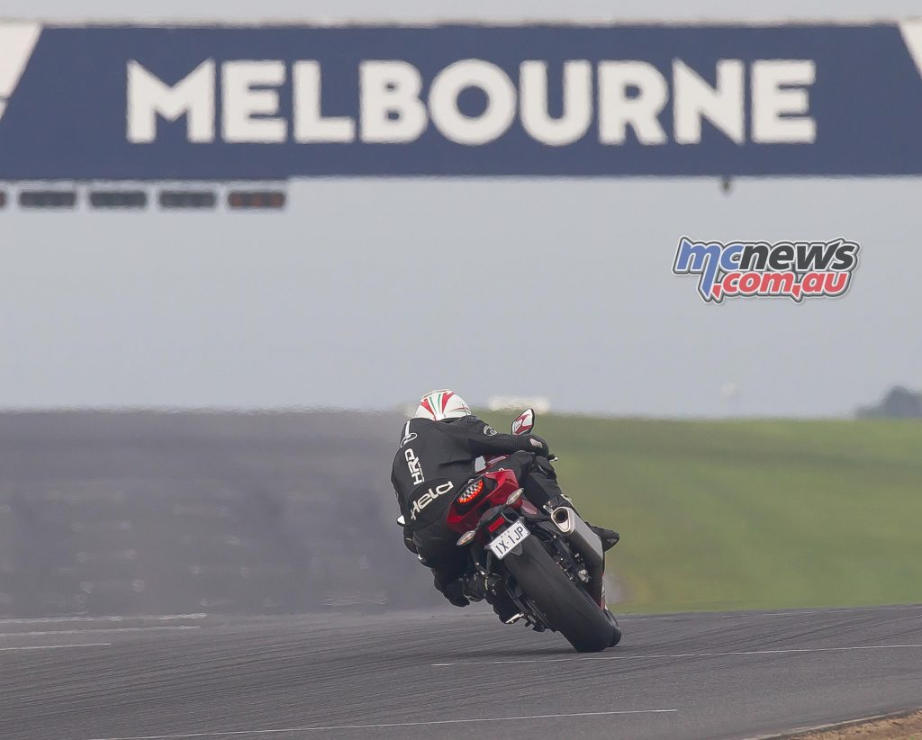 Heading down the straight at Phillip Island aiming for 300km/h+