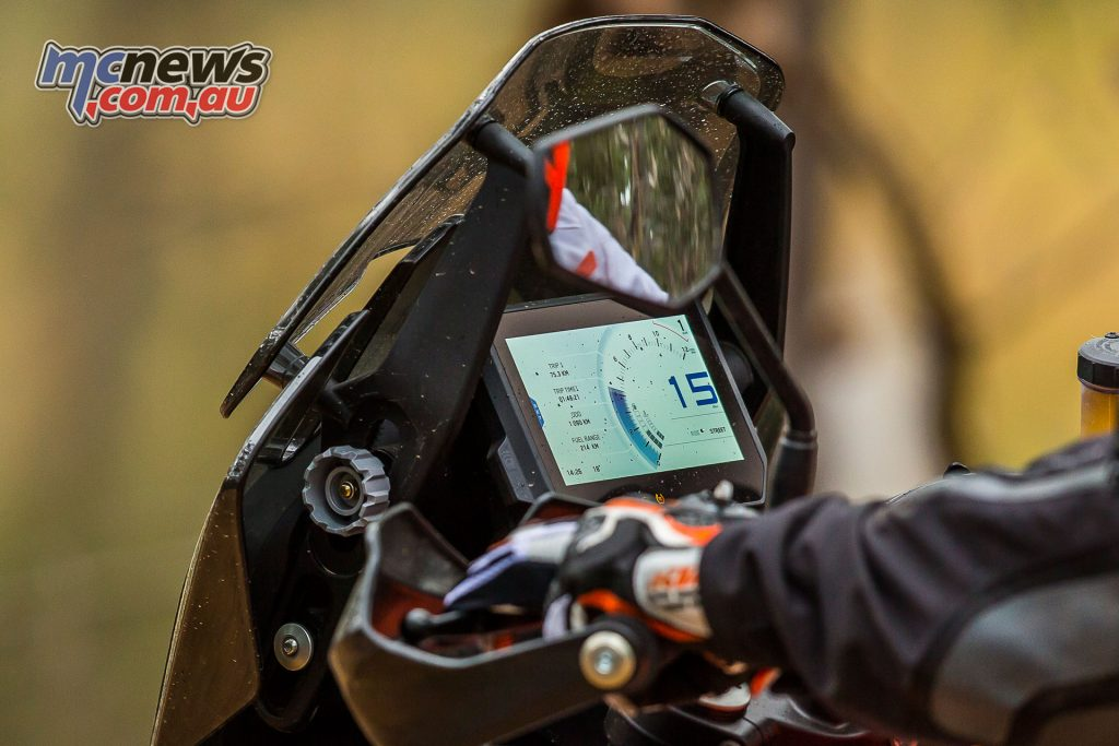 Both 2017 KTM 1290 Super Adventures feature the 6.5inch TFT display