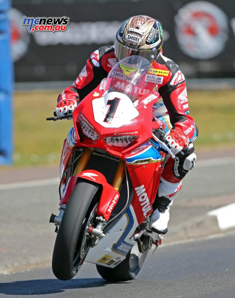 John McGuinness in action at the North West 200 prior to the accident