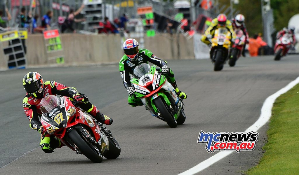 Shane Byrne leads Luke Mossey and Josh Brookes at Oulton Park