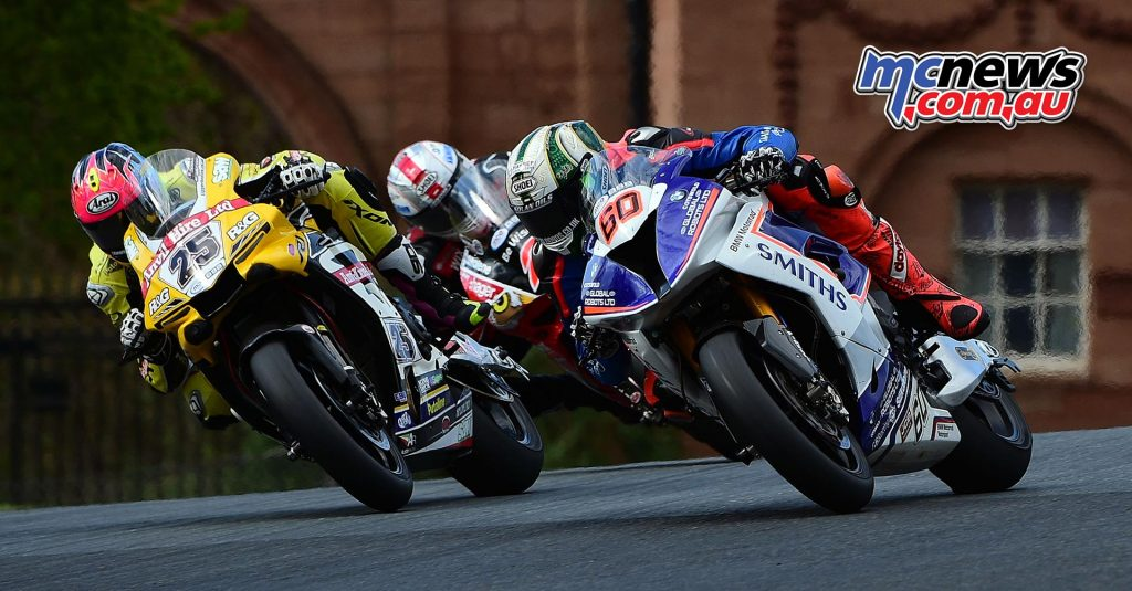 Peter Hickman battling with Josh Brookes at Oulton Park