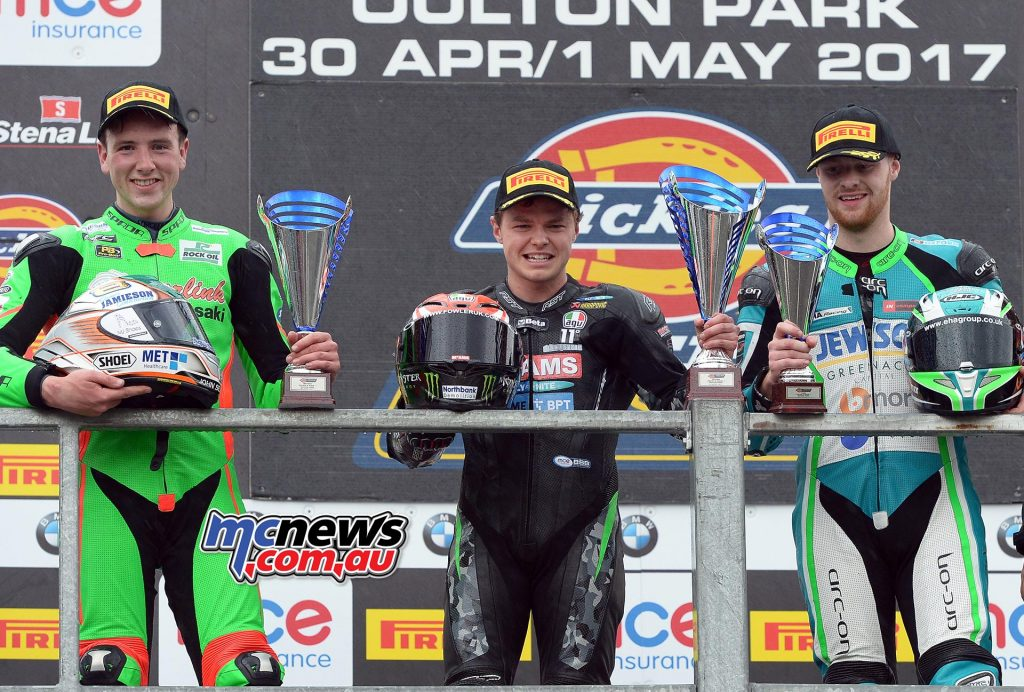 BSB Supersport Oulton Park Feature Race Podium - Mackenzie 1st - Irwin 2nd - Allingham 3rd
