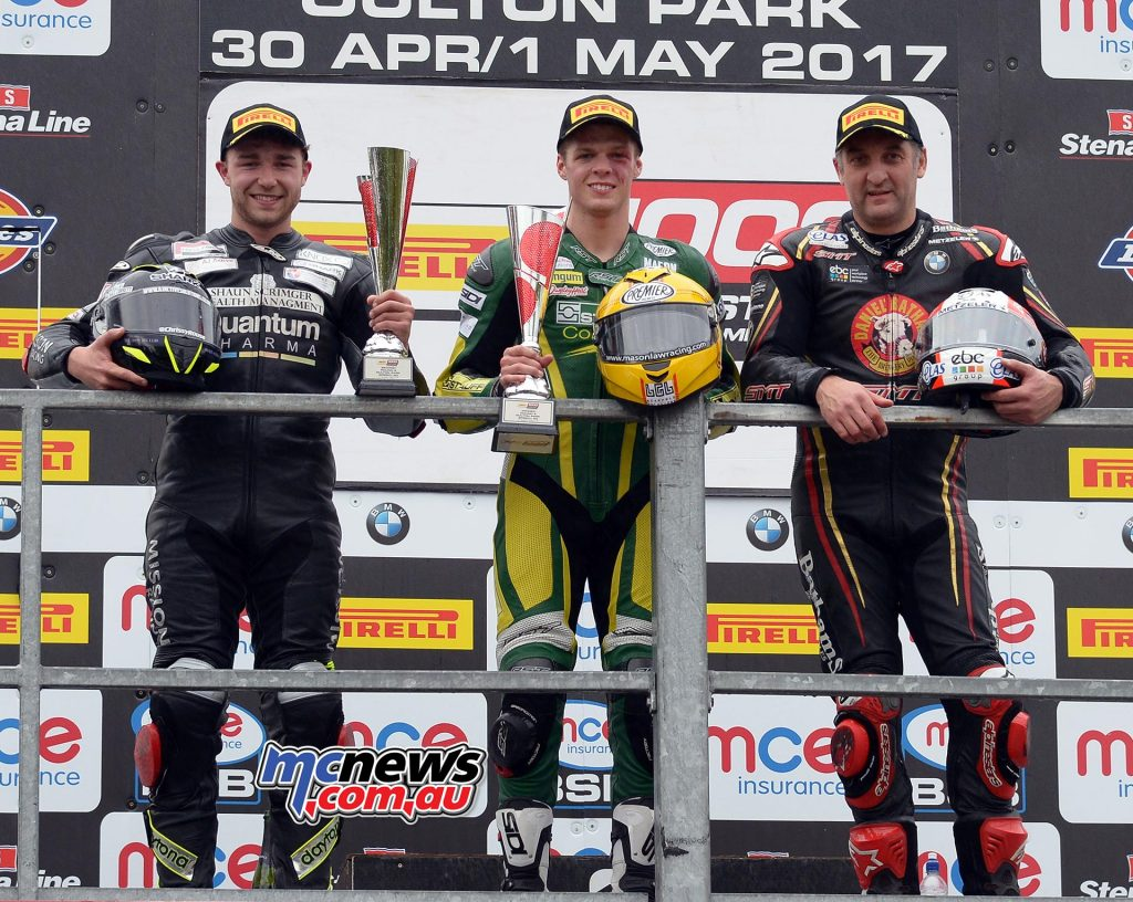 BSB STK 1000 Podoium - Oulton Park - 1st Mason Law - 2nd Chrissey Rouse +5.733 - 3rd Michael Rutter +5.841