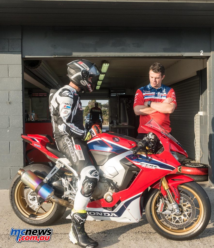 Troy Herfoss and Crankt Protein Honda Road Race Team Manager Shaun Clarke - Image by TH