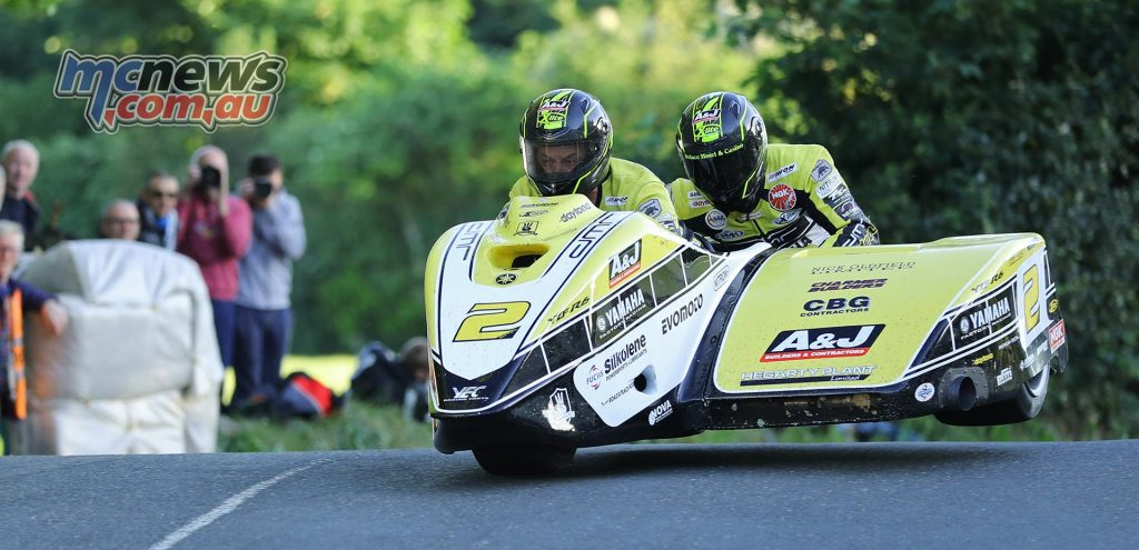 Dave Molyneux and Dan Sayle at Ballaugh Bridge on the opening qualifying session