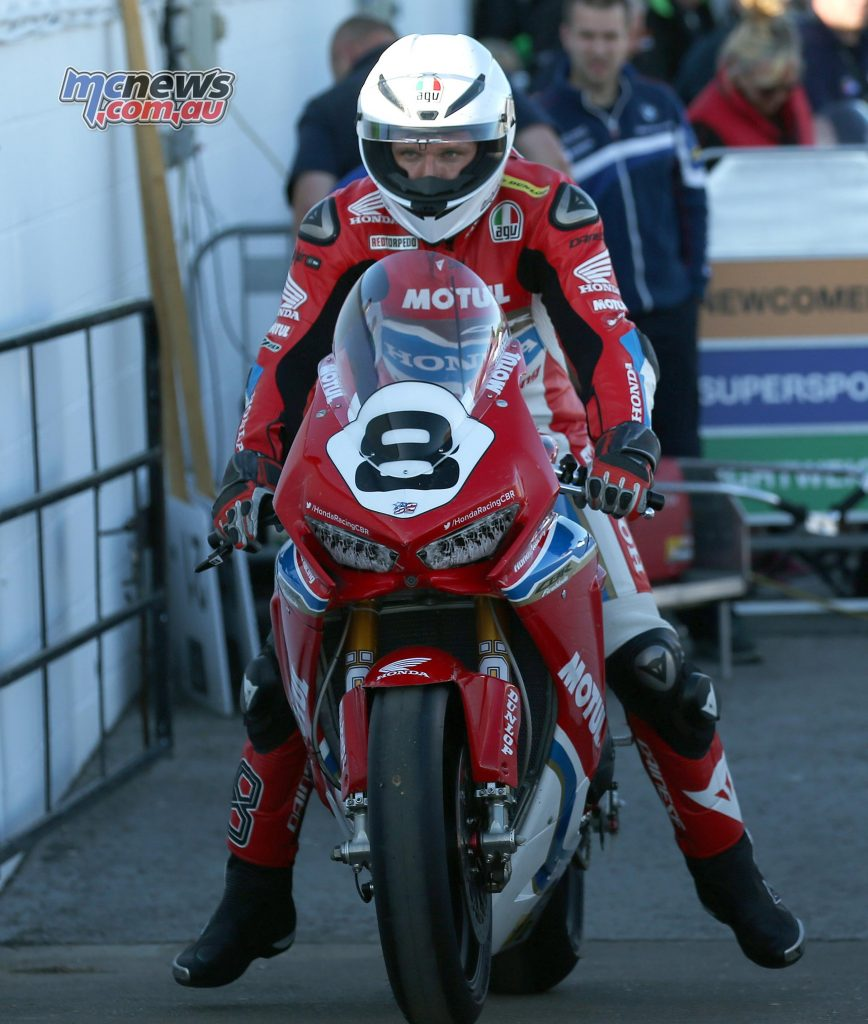 Guy Martin leaving pitlaone on the new Honda CBR1000RR Fireblade SP2 for the first time