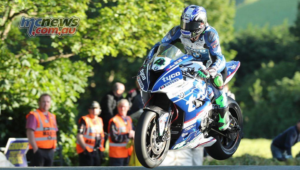 Ian Hutchinson at Ballaugh Bridge on the Tyco BMW Superbike
